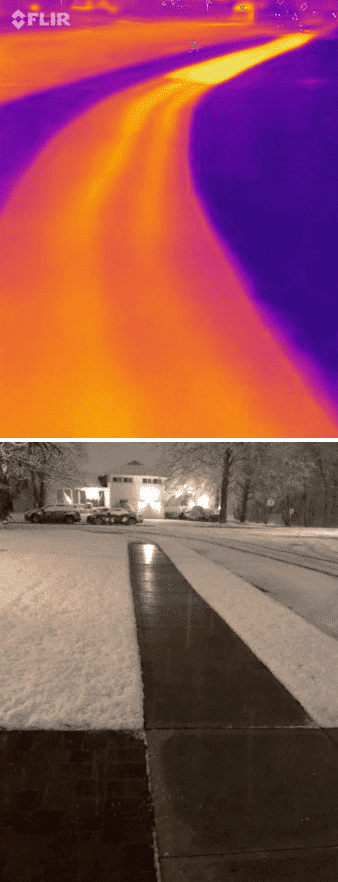 Snow melt in infrared and regular camera